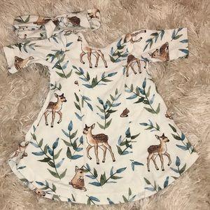 Milk maid goods newborn dress and headband set